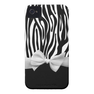 Black and white Zebra stripes & ribbon graphic Case-Mate iPhone 4 Case