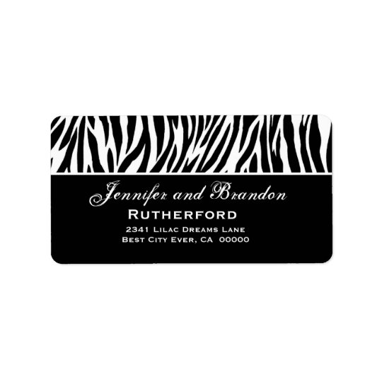 Black and White Zebra Wedding Address Address Label