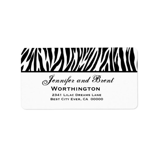 Black and White Zebra Wedding Address Label