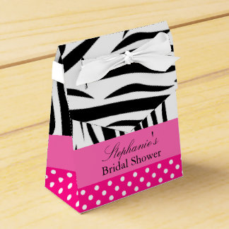 Black and White Zebra with Hot Pink Bridal Shower Favour Box