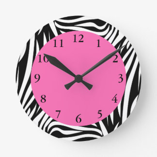Black and White Zebra with Hot Pink Wall Clocks