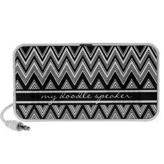 Black and white Zig Zag Doodle Speaker Custom Text