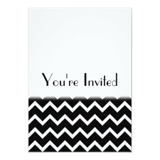 Black and White Zig Zag Pattern. Part Plain. Card