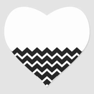 Black and White Zig Zag Pattern. Part Plain. Heart Sticker