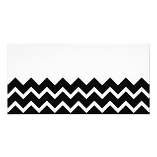 Black and White Zig Zag Pattern. Part Plain. Photo Greeting Card