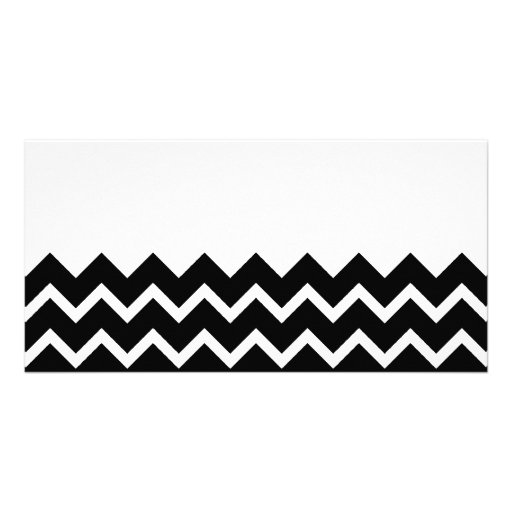 Black and White Zig Zag Pattern. Part Plain. Photo Card