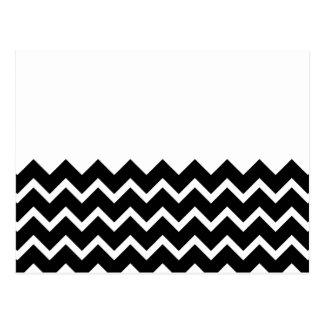 Black and White Zig Zag Pattern. Part Plain. Postcards