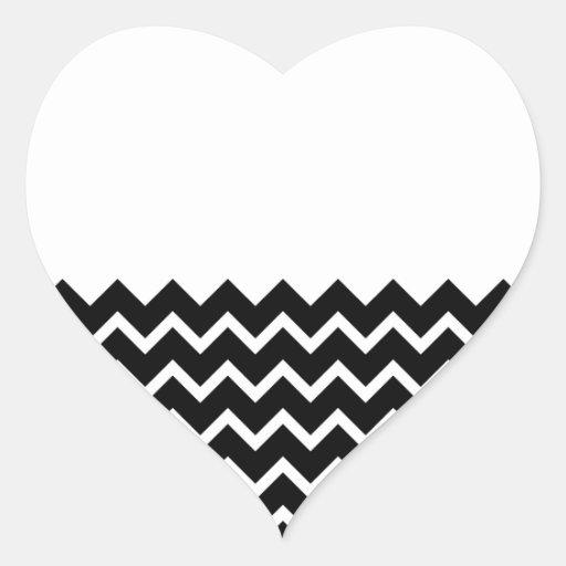 Black and White Zig Zag Pattern. Part Plain. Heart Stickers