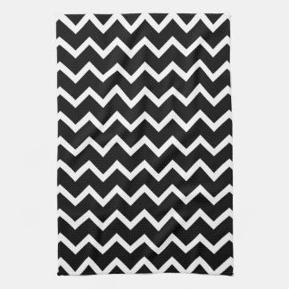 Black and White Zig Zag Pattern. Tea Towel