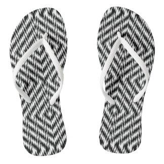 Black and White Zig Zag Thongs