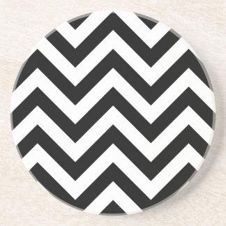 Black and white Zigzag Chevron Pattern Coasters