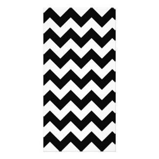 Black and White Zigzag Chevron Pattern Customised Photo Card