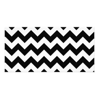 Black and White Zigzag Chevron Pattern Photo Cards