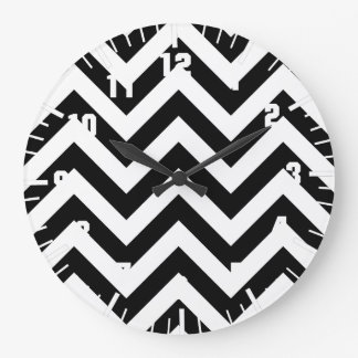 Black and white  Zigzag Chevrons Pattern Large Clock
