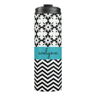 Black and White zigzag floral 2 Personalized Thermal Tumbler