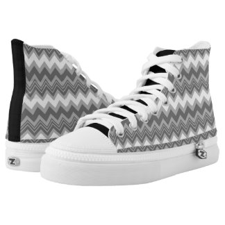Black and White Zigzag High Top Shoes 2 Printed Shoes