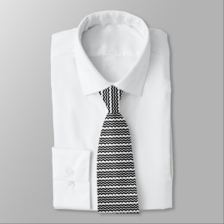 black and white zigzag pattern all over design tie