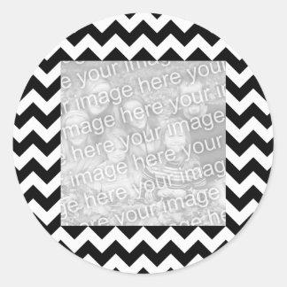 Black and White Zigzag Square Border Photo Round Sticker