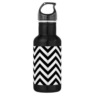 Black and White Zigzag Stripes Chevron Pattern 532 Ml Water Bottle