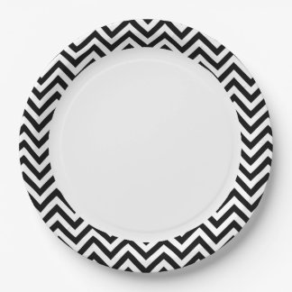 Black and White Zigzag Stripes Chevron Pattern 9 Inch Paper Plate