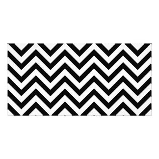 Black and White Zigzag Stripes Chevron Pattern Customized Photo Card