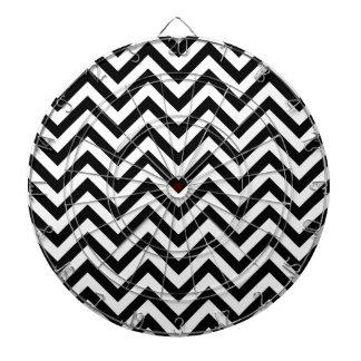 Black and White Zigzag Stripes Chevron Pattern Dartboard