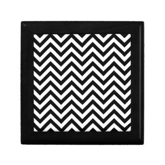Black and White Zigzag Stripes Chevron Pattern Gift Box