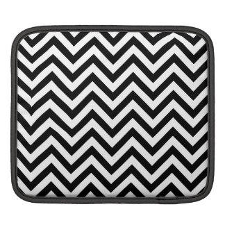 Black and White Zigzag Stripes Chevron Pattern iPad Sleeve