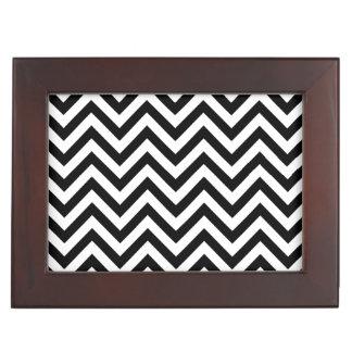 Black and White Zigzag Stripes Chevron Pattern Keepsake Box