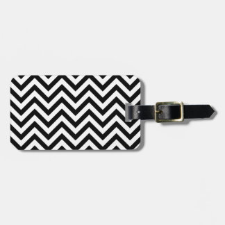 Black and White Zigzag Stripes Chevron Pattern Luggage Tag