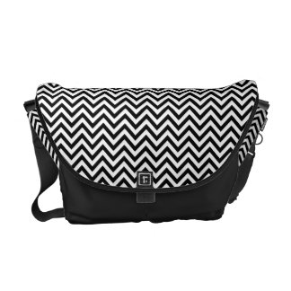 Black and White Zigzag Stripes Chevron Pattern Messenger Bags