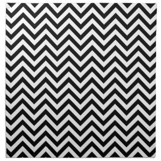 Black and White Zigzag Stripes Chevron Pattern Napkin