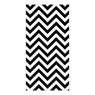 Black and White Zigzag Stripes Chevron Pattern Photo Greeting Card