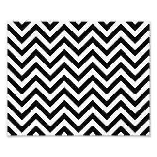 Black and White Zigzag Stripes Chevron Pattern Photo Print