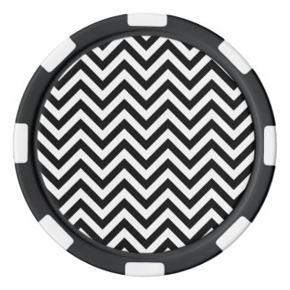 Black and White Zigzag Stripes Chevron Pattern Poker Chips