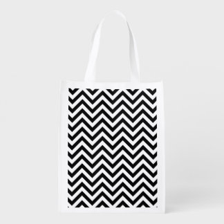 Black and White Zigzag Stripes Chevron Pattern Reusable Grocery Bag