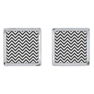 Black and White Zigzag Stripes Chevron Pattern Silver Finish Cufflinks