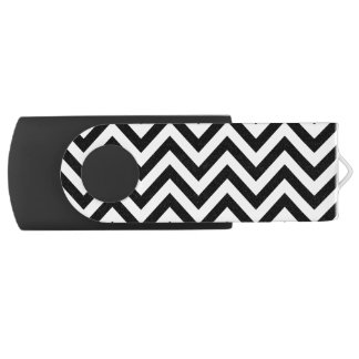 Black and White Zigzag Stripes Chevron Pattern USB Flash Drive