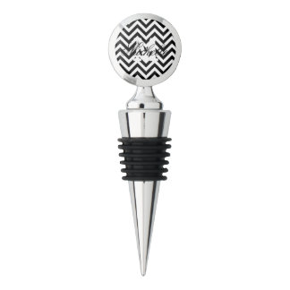 Black and White Zigzag Stripes Chevron Pattern Wine Stopper