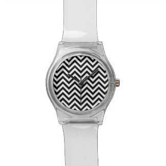 Black and White Zigzag Stripes Chevron Pattern Wristwatches