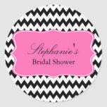 Black and White Zigzag with Hot Pink Bridal Shower Round Sticker