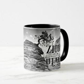 Black and White Zion Bonsai Tree Photo Mug