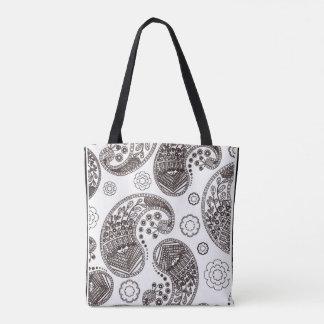 black and whitecolor me   pattern doodles tote bag