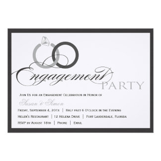 Black and WhitemScript Engagement Party Invitation