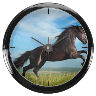 black and wild Stallion Rearing Horse Aquavista Clock