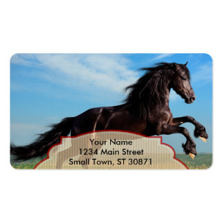 black and wild Stallion Rearing Horse Double-Sided Standard Business Cards (Pack Of 100)