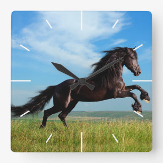 black and wild Stallion Rearing Horse Wall Clocks