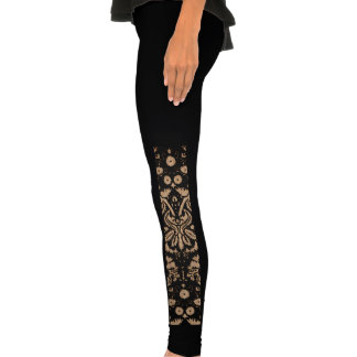 Black and Wood Damask Legging Tights