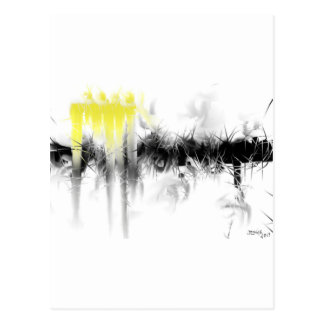 Black and Yellow Abstract Postcard