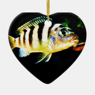 Black and Yellow African Cichlid Fish Ceramic Ornament